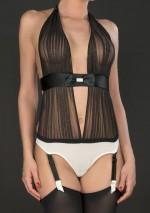 Draped thong body with suspendersCabaret SmokingMaison Close