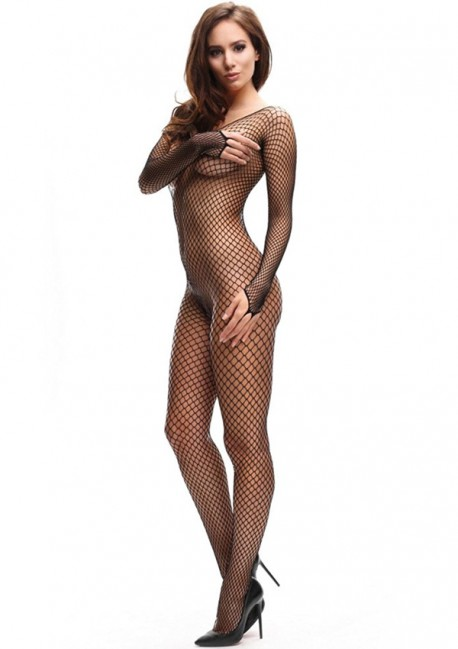 Open black fishnet bodystocking - Miss O