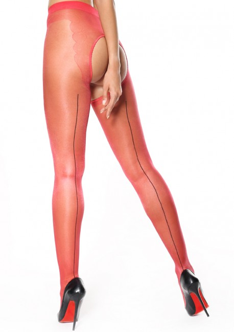Red open seam pantyhose - Miss O